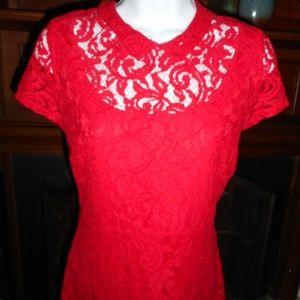 NWOT Red Eva Mendes Lace dress, 4